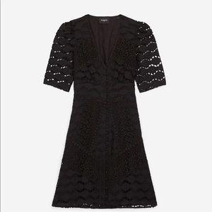 The KOOPLES Short Buttoned Black Lace Dress